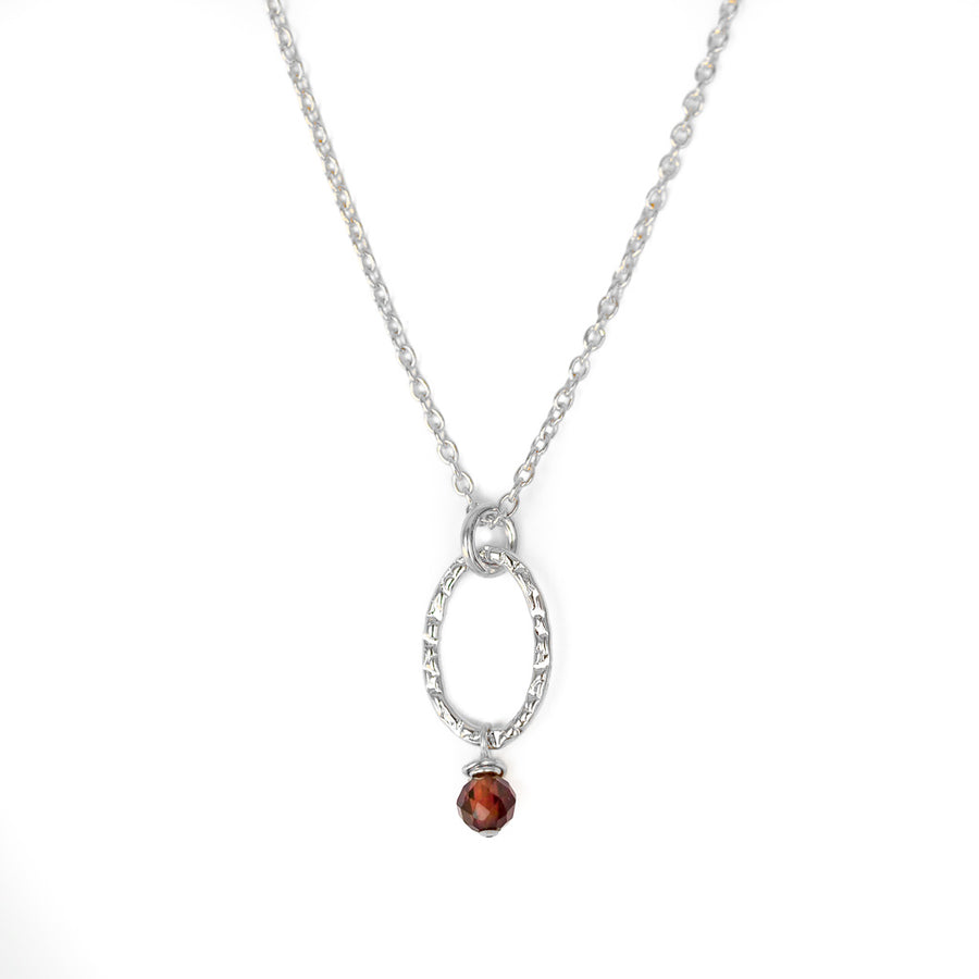 Orbit Mini Necklace - Silver and Red Garnet