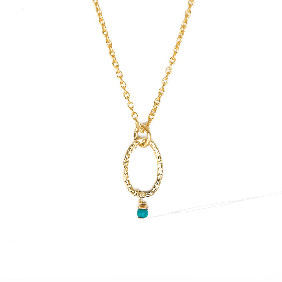 Orbit Mini Necklace gold turquoise