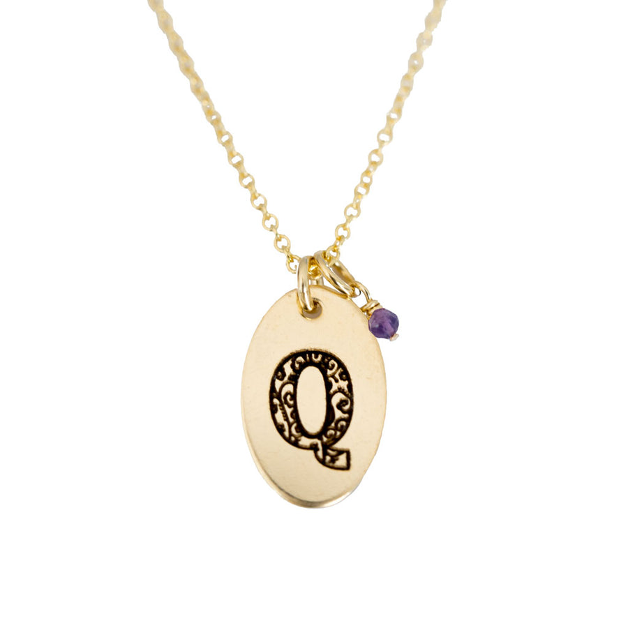 Q - Birthstone Love Letters Necklace Gold and Amethyst