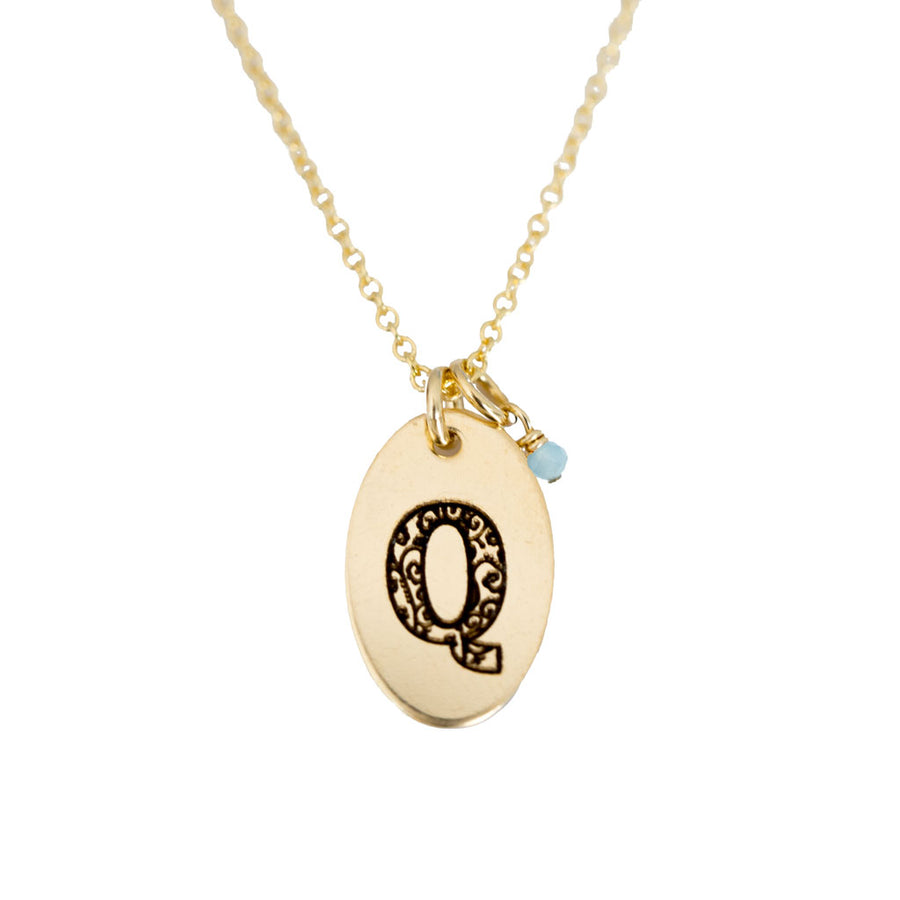 Q - Birthstone Love Letters Necklace Gold and Aquamarine