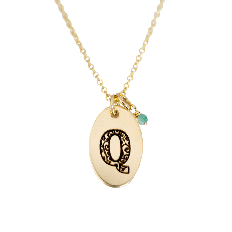 Q - Birthstone Love Letters Necklace Gold and Emerald