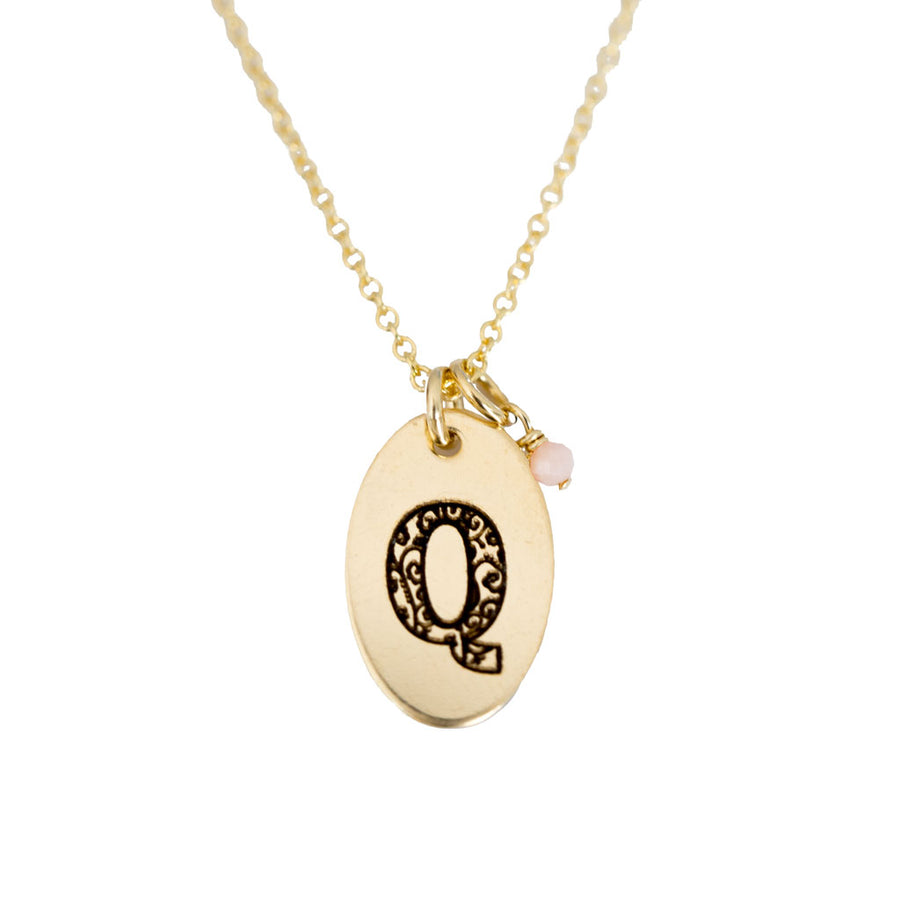 Q - Birthstone Love Letters Necklace Gold and Pink Opal