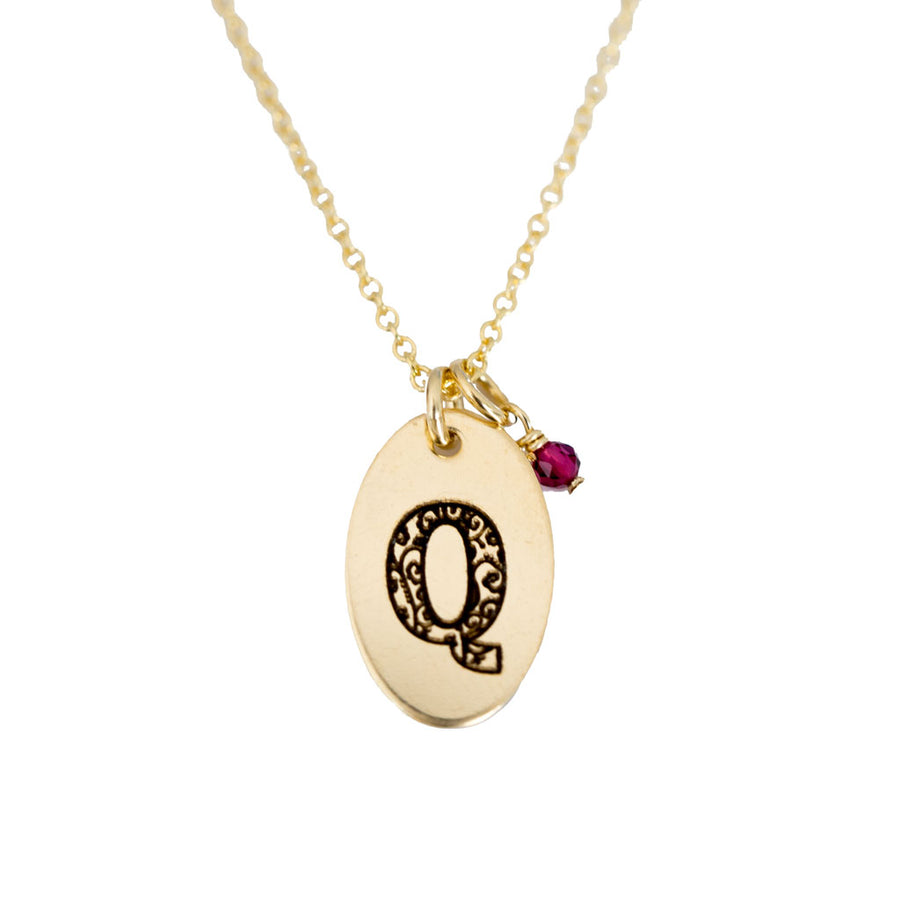 Q - Birthstone Love Letters Necklace Gold and Red Garnet