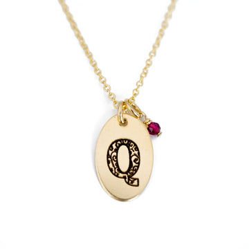 Q - Birthstone Love Letters Necklace Gold and Ruby