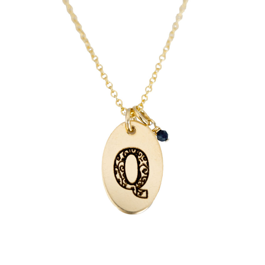 Q - Birthstone Love Letters Necklace Gold and Sapphire