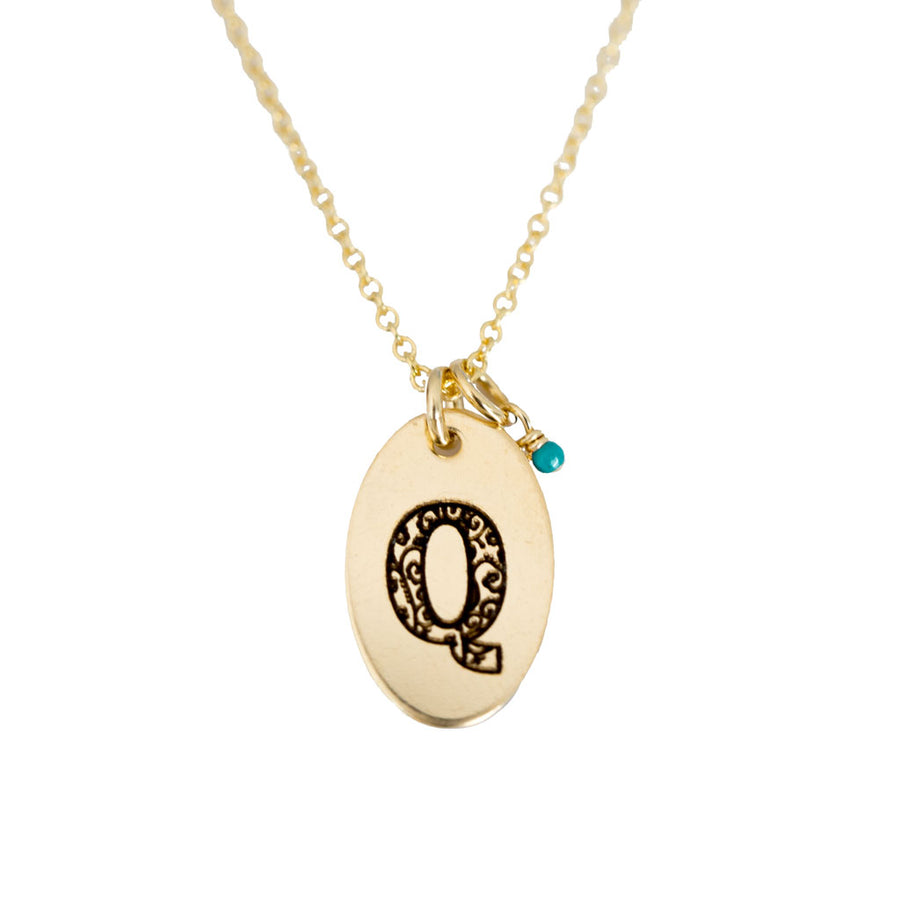 Q - Birthstone Love Letters Necklace Gold and Turquoise