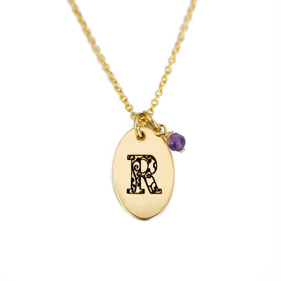 R - Birthstone Love Letters Necklace Gold and Amethyst
