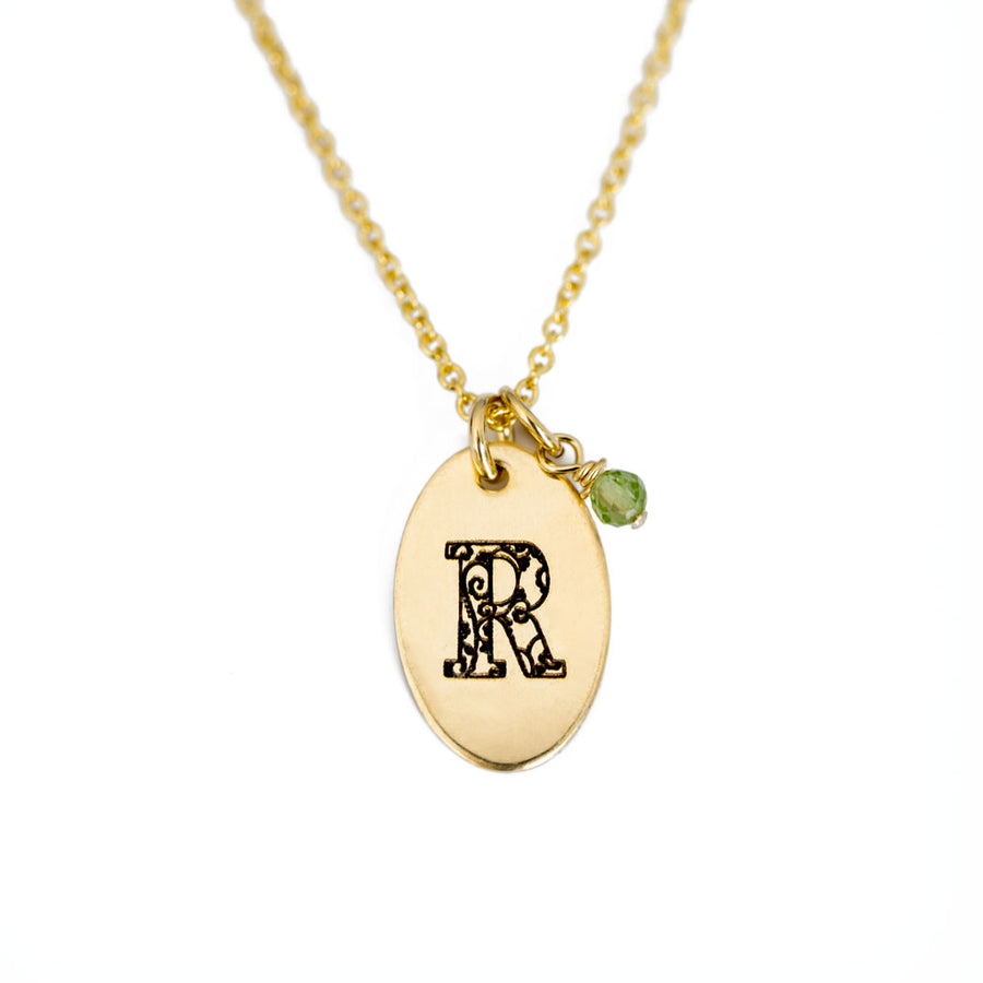 R - Birthstone Love Letters Necklace Gold and Peridot