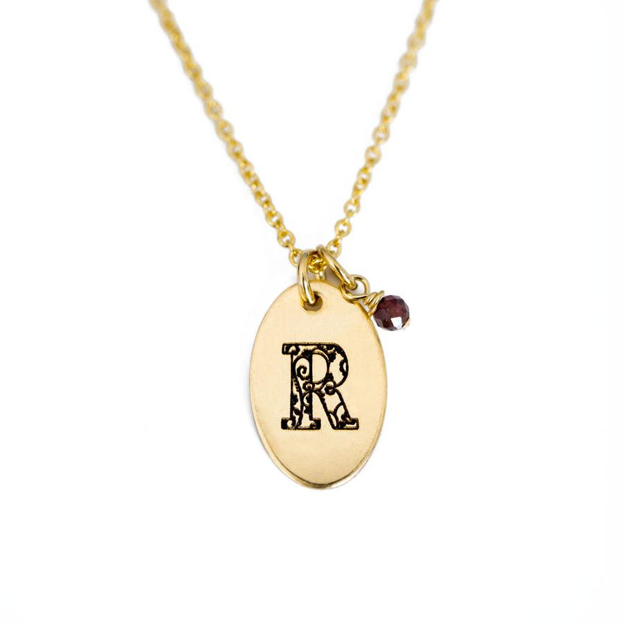 R - Birthstone Love Letters Necklace Gold and Red Garnet