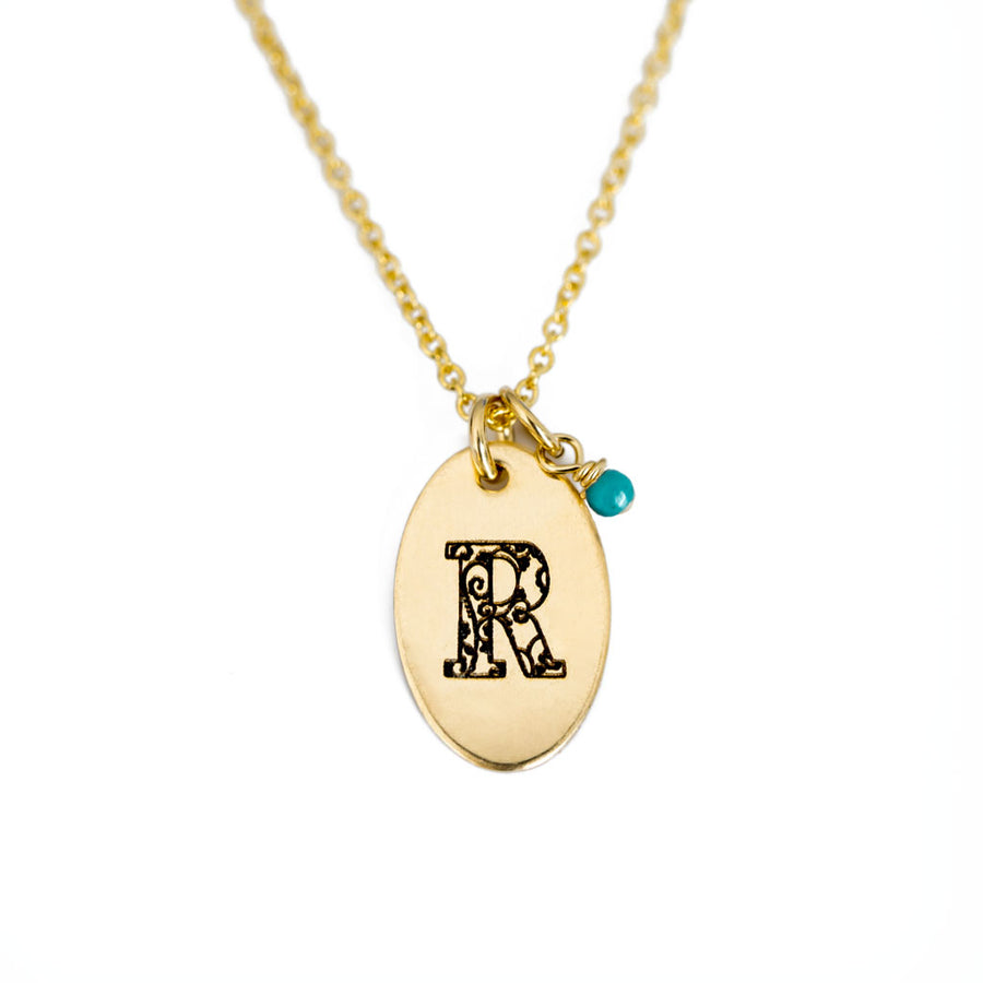 R - Birthstone Love Letters Necklace Gold and Turquoise