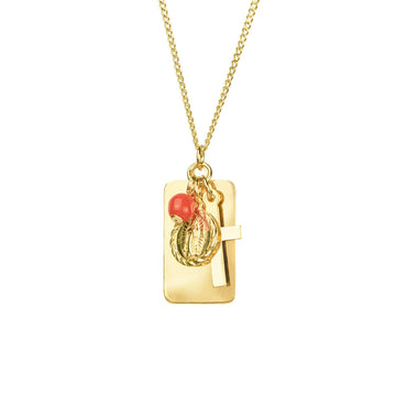Reflections Faith Coral Necklace - Gold