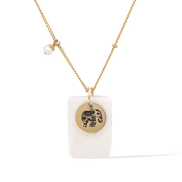 Enchanted elephant necklace gold and pearl