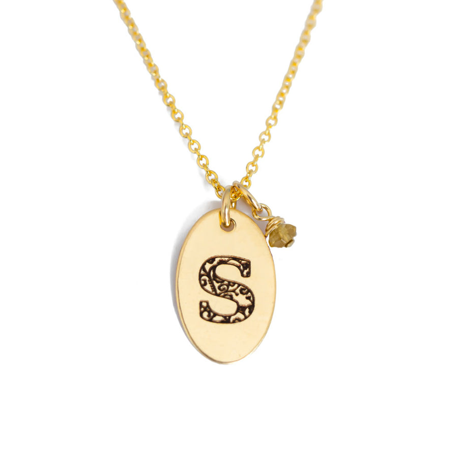 S - Birthstone Love Letters Necklace Gold and Citrine