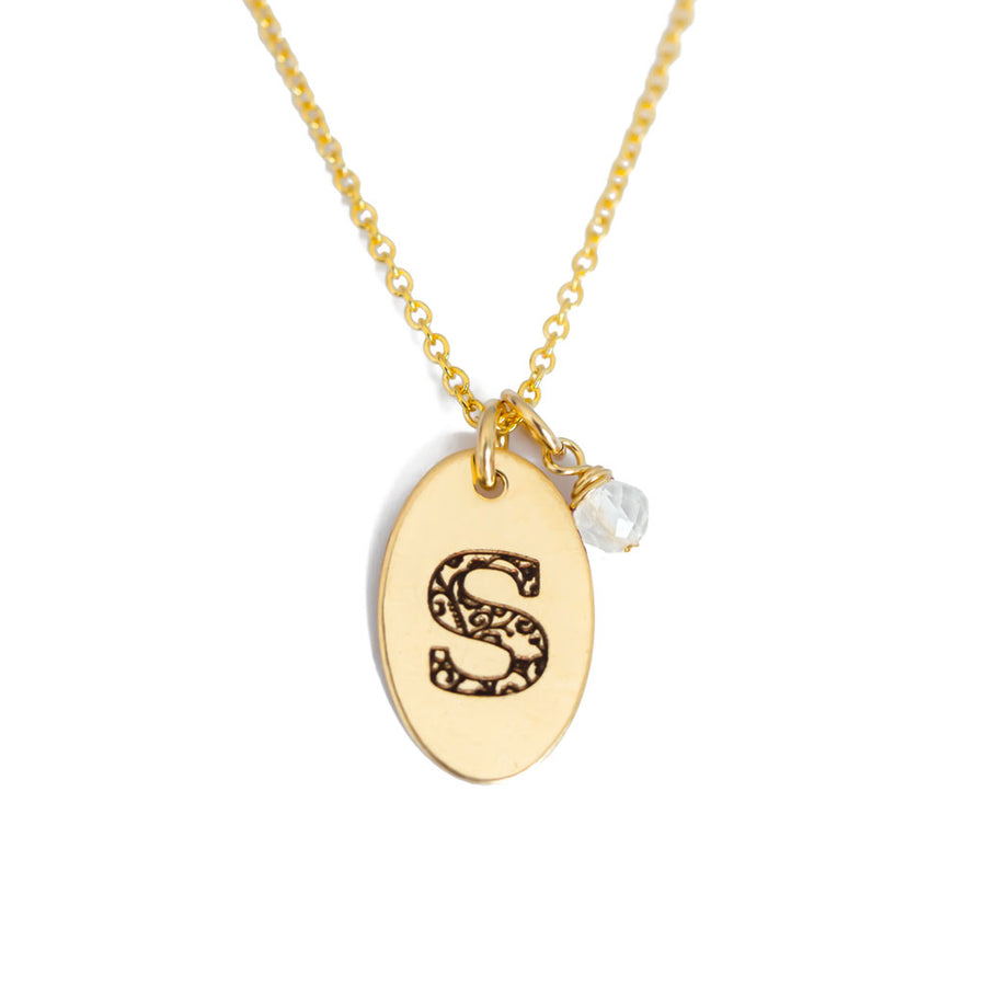 S - Birthstone Love Letters Necklace Gold and Clear Quartz