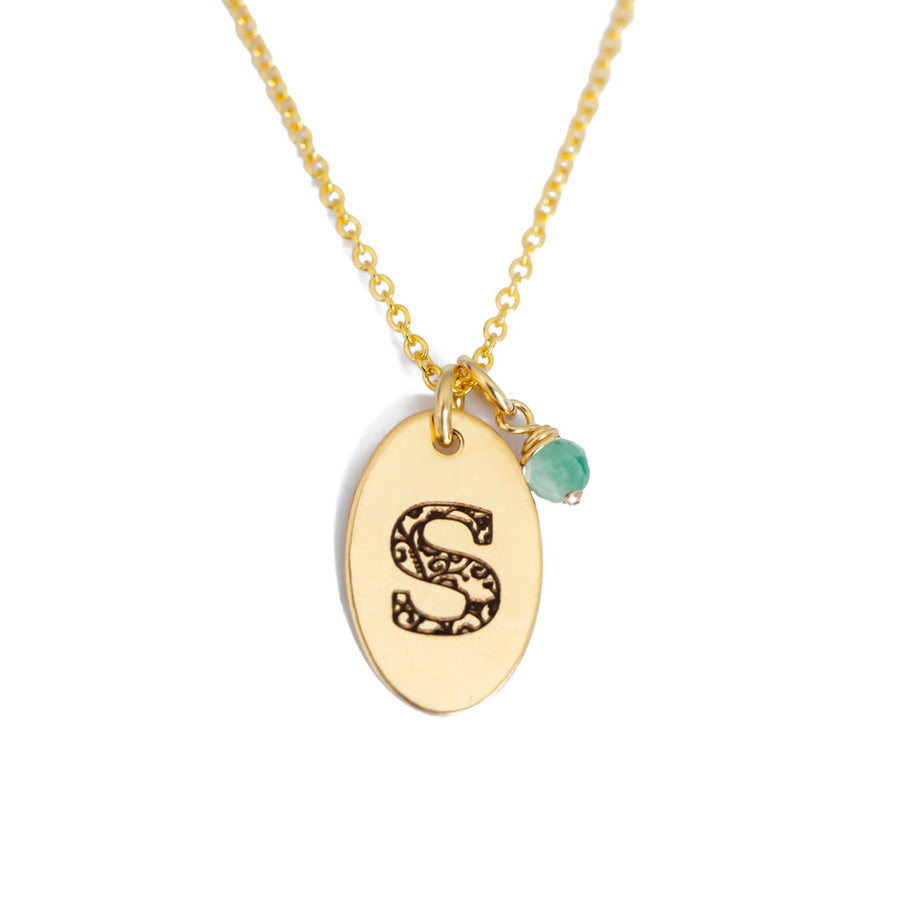 S - Birthstone Love Letters Necklace Gold and Emerald
