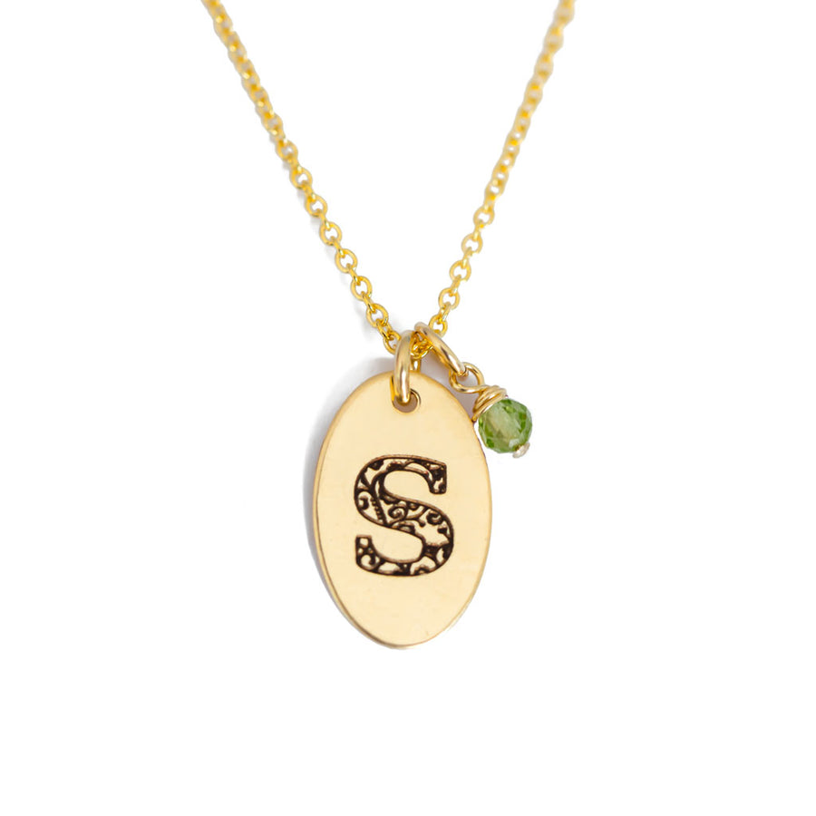 S - Birthstone Love Letters Necklace Gold and Peridot
