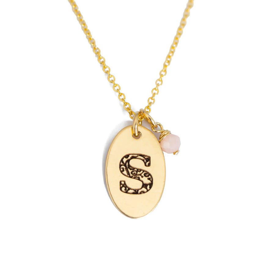 S - Birthstone Love Letters Necklace Gold and Pink Opal