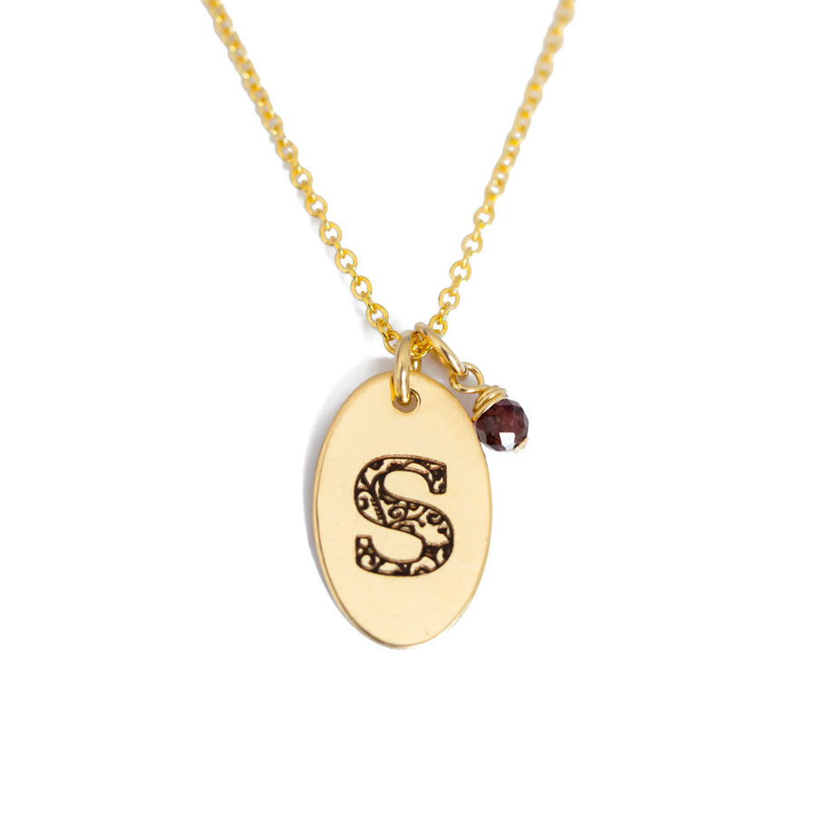 S - Birthstone Love Letters Necklace Gold and Red Garnet