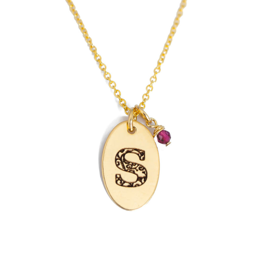 S - Birthstone Love Letters Necklace Gold and Ruby
