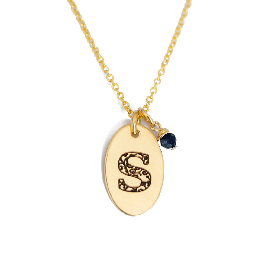 S - Birthstone Love Letters Necklace Gold and Sapphire