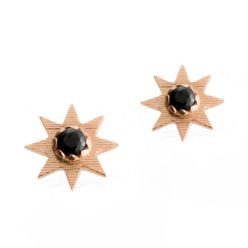SOLSTICE STAR EARRINGS -  Rose Gold with Black Spinel