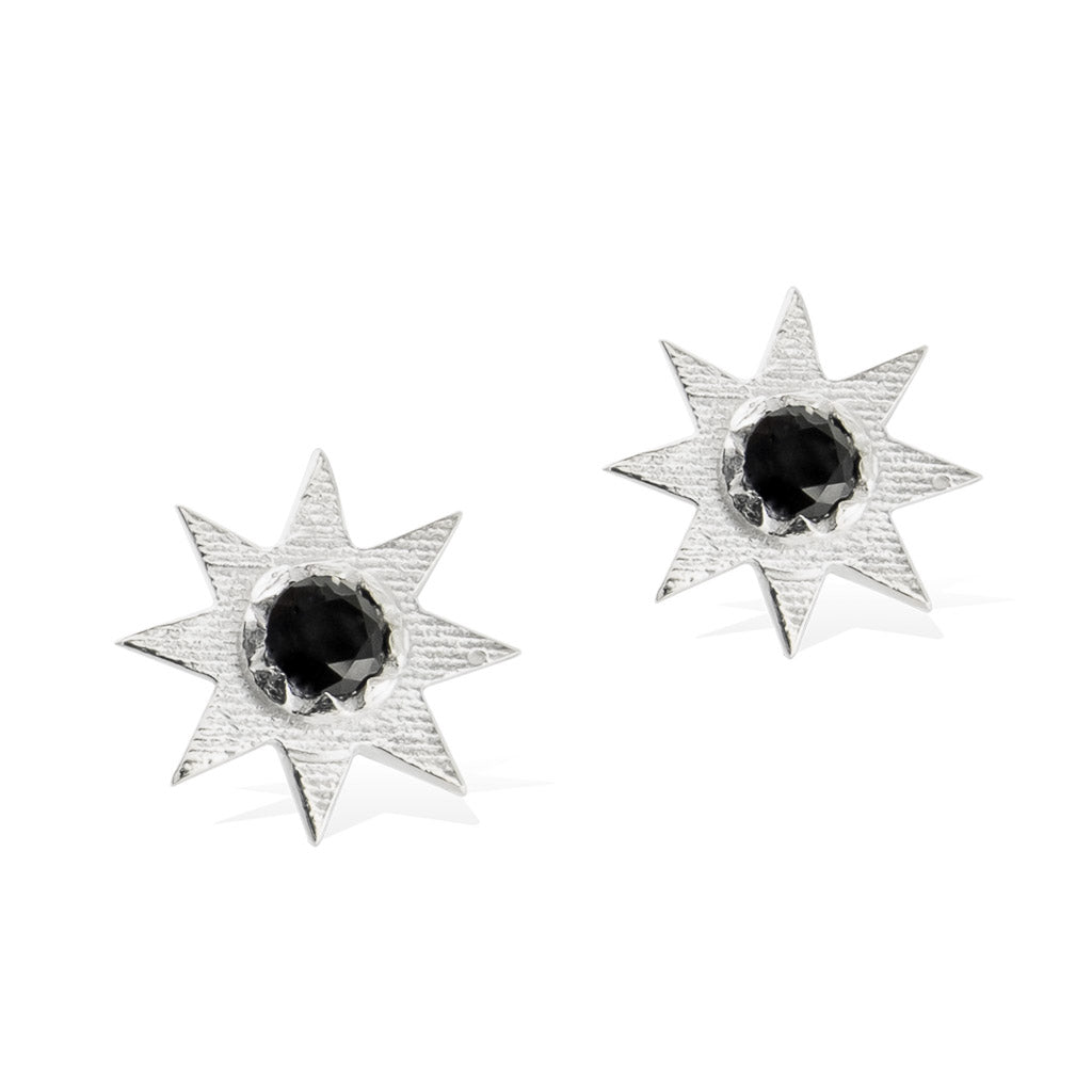 SOLSTICE STAR EARRINGS -  Sterling Silver with Black Spinel
