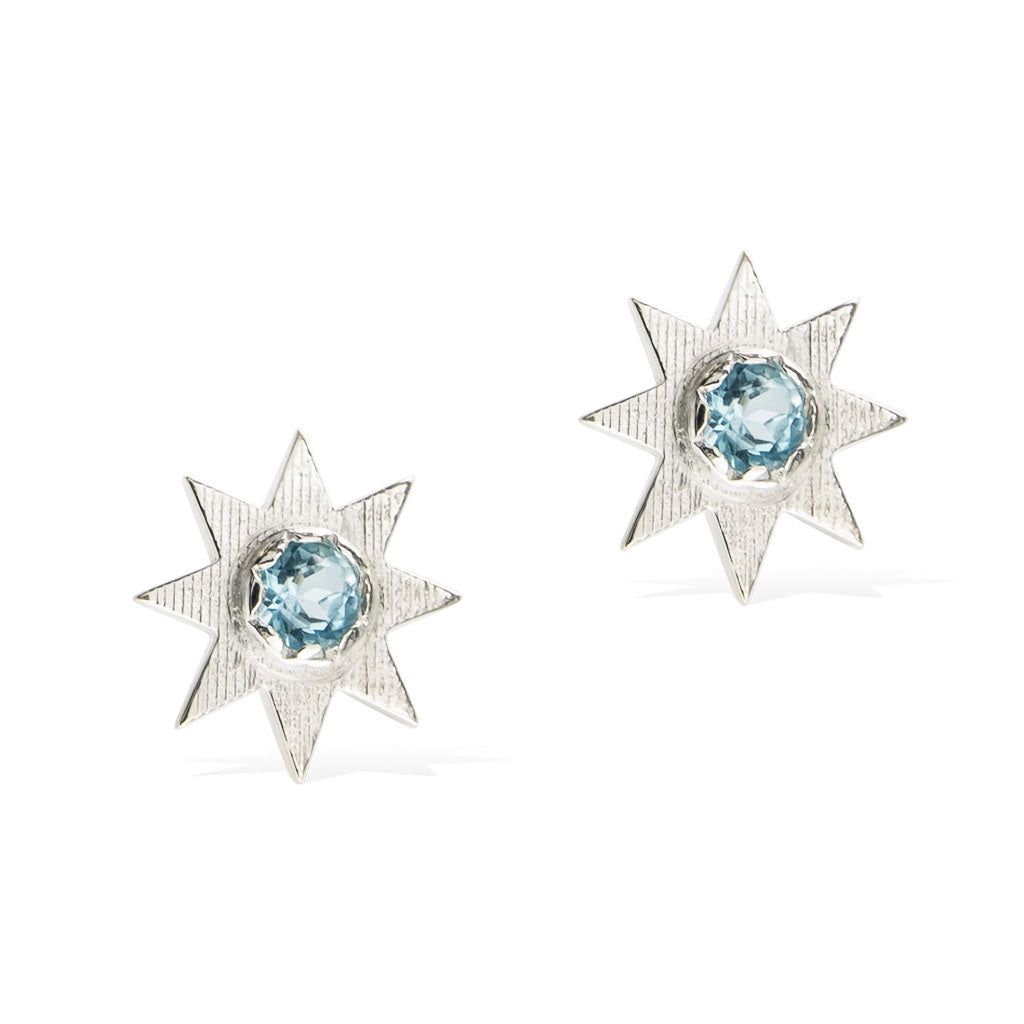 SOLSTICE STAR EARRINGS -  Sterling Silver with Swiss Blue Topaz
