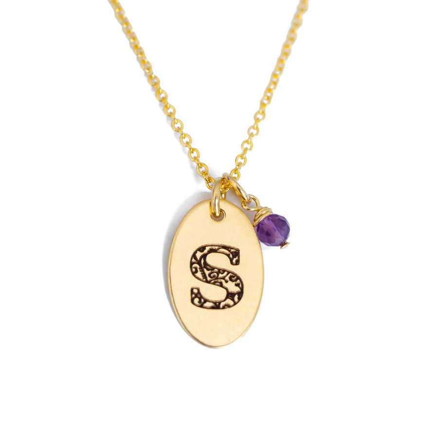 S - Birthstone Love Letters Necklace Gold and Amethyst