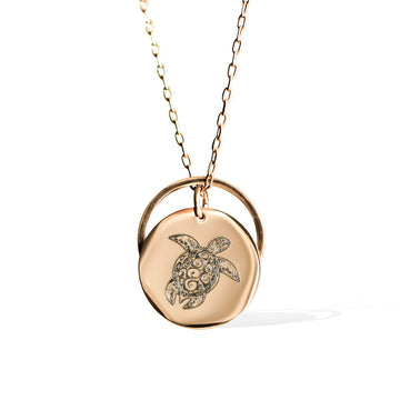 Sea Turtle and Ring of Fire Pendant -  Rose Gold