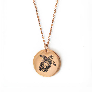 Sea Turtle Pendant Single Rose Gold