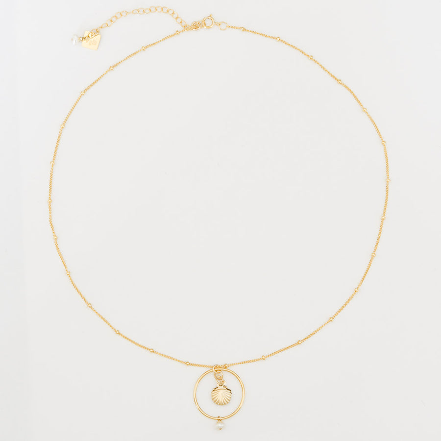 Halo Seashore Necklace whole- Gold and Pearl