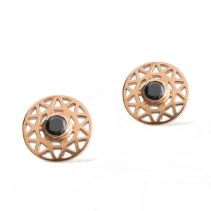 TARAXACUM EARRINGS -  Rose Gold with Black Spinel front