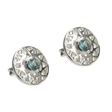 TARAXACUM EARRINGS - Sterling Silver with Swiss Blue Topaz