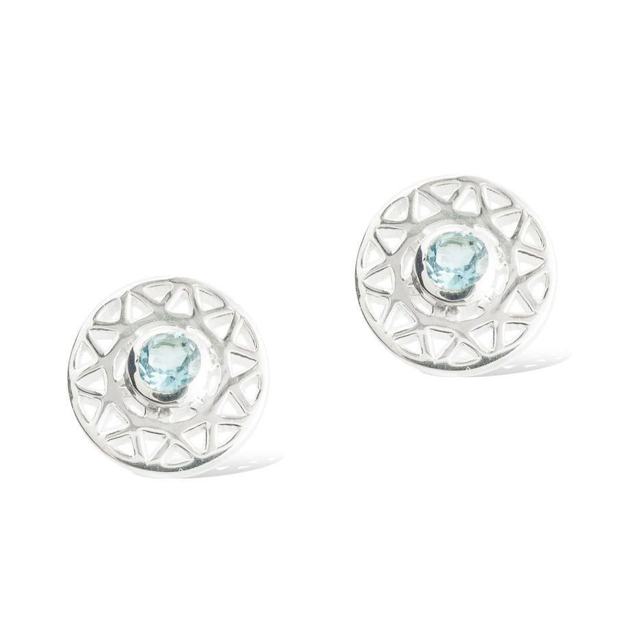 TARAXACUM EARRINGS - Sterling Silver with Swiss Blue Topaz front