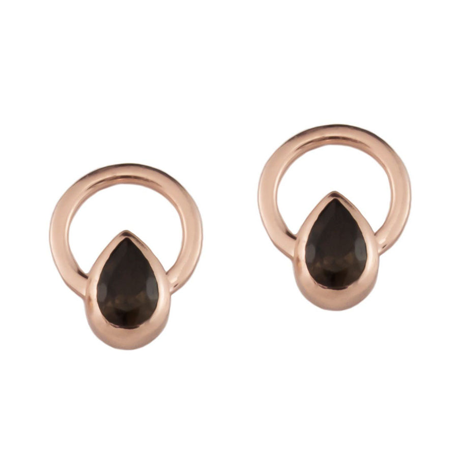 TEARDROP SINGLE RAY EARRINGS -  Rose Gold with Smoky Quartz