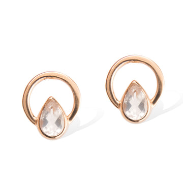 TEARDROP SINGLE RAY EARRINGS -  Rose Gold with Rose Quartz