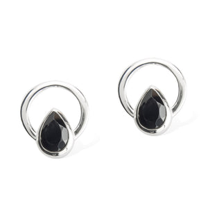 TEARDROP SINGLE RAY EARRINGS -  Sterling Silver with Black Spinel