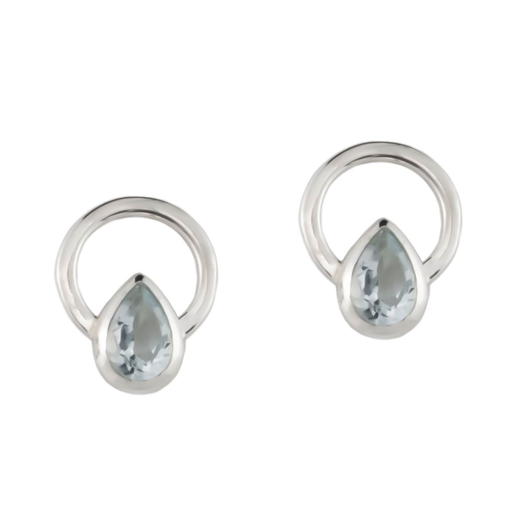 TEARDROP SINGLE RAY EARRINGS -  Sterling Silver with Clear Quartz