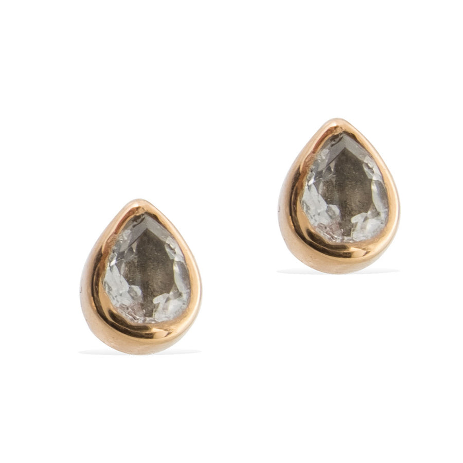TEARDROP STUD EARRINGS -  Rose Gold with Clear Quartz