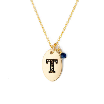 T - Birthstone Love Letters Necklace Gold and Sapphire