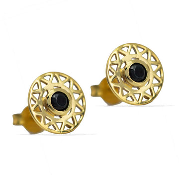 Taraxacum-Earrings-Gold-with-Black-Spinel