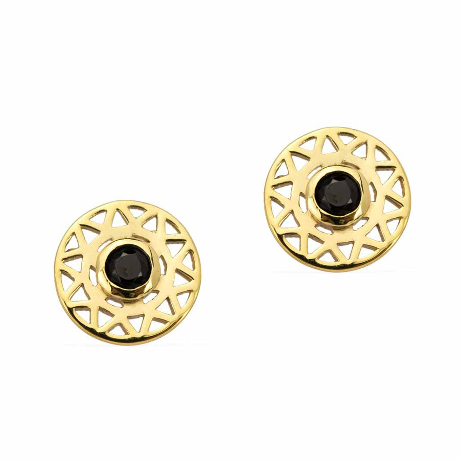 Taraxacum-Earrings-Gold-with-Black-Spinel frontview