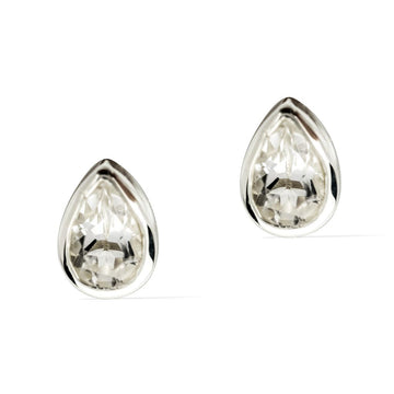 Teardrop Stud Earrings  -  Sterling Silver with Clear Quartz