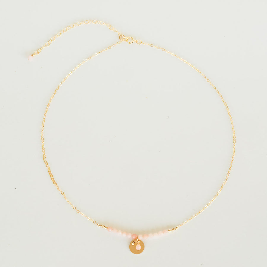 The Aura Necklace - Gold and Pink Opal full