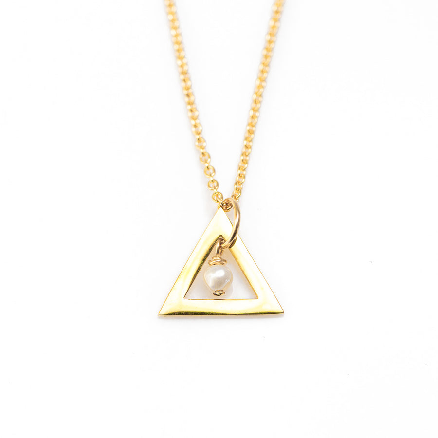 Triangle Chime Necklace - Gold and Pearl
