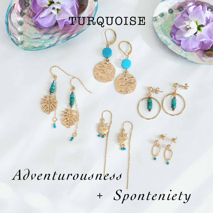 Turquoise-earrings-Atlantis,-Monstera,-Owl-Orbit-and-Halo-sage-gold-and-Turquoise