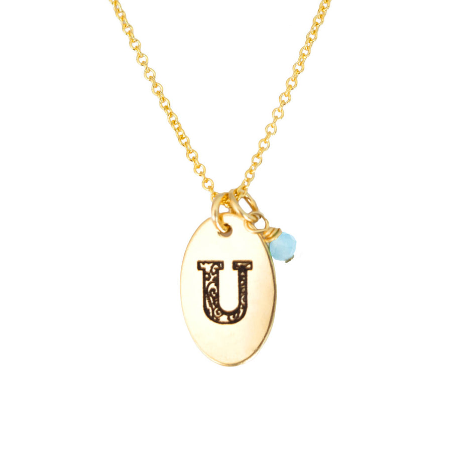 U - Birthstone Love Letters Necklace Gold and Aquamarine