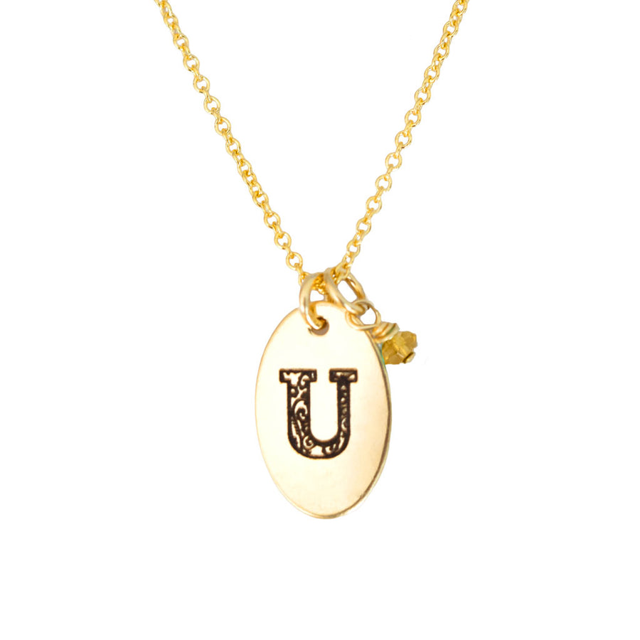 U - Birthstone Love Letters Necklace Gold and Citrine