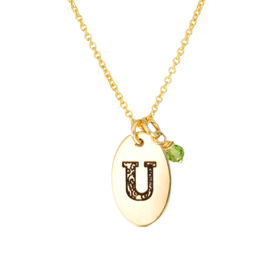 U - Birthstone Love Letters Necklace Gold and Peridot