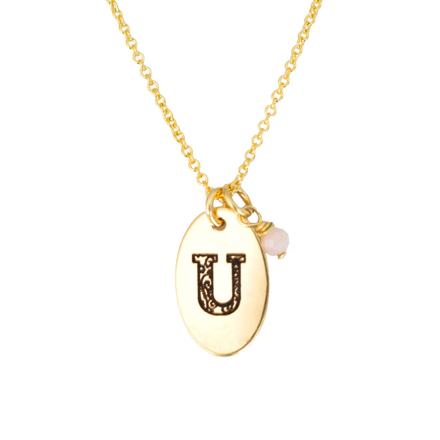 U - Birthstone Love Letters Necklace Gold and Pink Opal